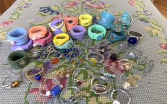 Junior Betsy Butler's ring collection, which she hand makes and sells.
