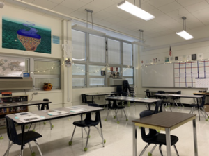 An empty classroom, a common sight during full-distance learning.